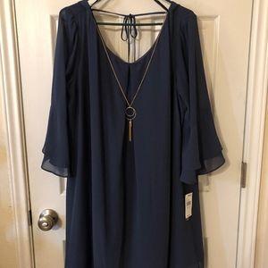 BCX Navy Blue Flowy Dress w/ Fancy Necklace